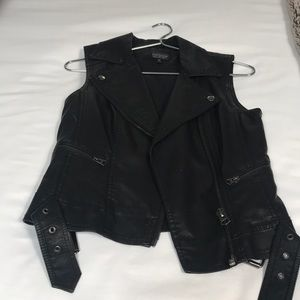 Faux black leather vest from Topshop size 2